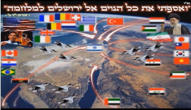 מלחמת גוג ומגוג- מפת העולם- ואספתי את כל הגויים אל ירושלים למלחמה-כי להשם המלוכה