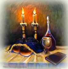 שבת עם נרות וחלה יין וכוס קידוש